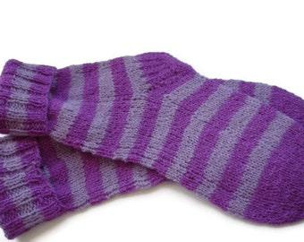 Knitted Unisex Socks Purple Pink Stripes Extra Warm Soft Wool