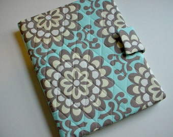 iPad /iPad Air/iPad Pro 9.7/Kindle Fire HD 8.9/10 cover/Samsung Tab A 9.7 cover quilted in Amy Butler's Lotus Wallflower Slate
