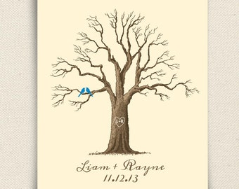 Wedding Guest Book Tree - The Maplewik - A Peachwik Personalized Print - 50 guest sign in - Rustic Thumbprint Fingerprint Tree Guestbook