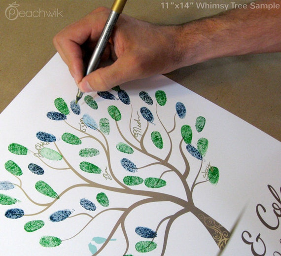Thumbprint Guest Book - The whimwik - A Peachwik Personalized Art Print - 50 guest sign in - Whimsy Tree Fingerprint Guestbook