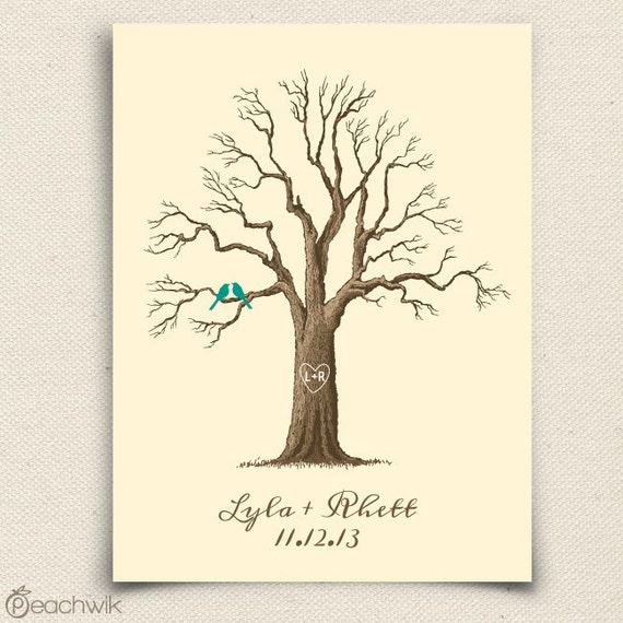 Thumbprint Tree Guest Sign: Wedding Guest Book Tree The Maplewik A Peachwik By Peachwik