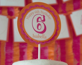 Baking Birthday Party Custom 4 Inch Circle Cake Topper Decoration