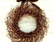 CARMEL MOCHA BROWN Wreath-Rustic Woodland Home Decor-Rustic Home Decor-Fall Wreath-Scented Mulled Cider- Custom Choose Scent and Ribbon