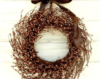 Rustic Wreath-Fall Door Wreath-Fall Wreaths-Autumn Home Decor-CARAMEL MOCHA BROWN Wreath-Rustic Home Decor-Woodland Wedding-Scented Wreaths