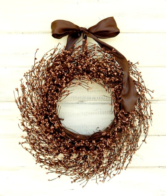 Rustic Wreath-Fall Door Wreath-Fall Wreaths-Autumn Home Decor-CARAMEL MOCHA BROWN Wreath-Rustic Home Decor-Woodland Wedding-Scented Wreaths