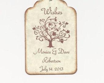 50 Custom Personalized  WEDDING WISH TREE tags-Wedding Favors-Elegant Wedding Tags