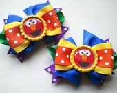 Seasame Street Elmo Inspired Big Boutique Rainbow Colored Pigtail Hair Bow Set