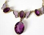 Vintage Amethyst Czech Glass Enamel Butterfly Necklace
