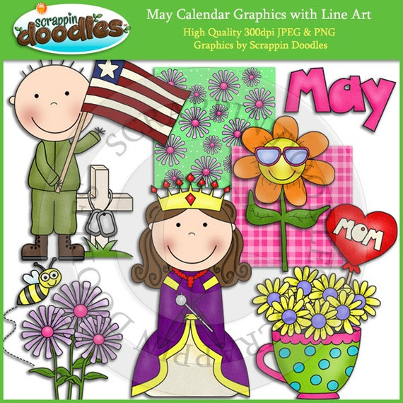 Calendar Clip Art May : May calendar clip art with line download