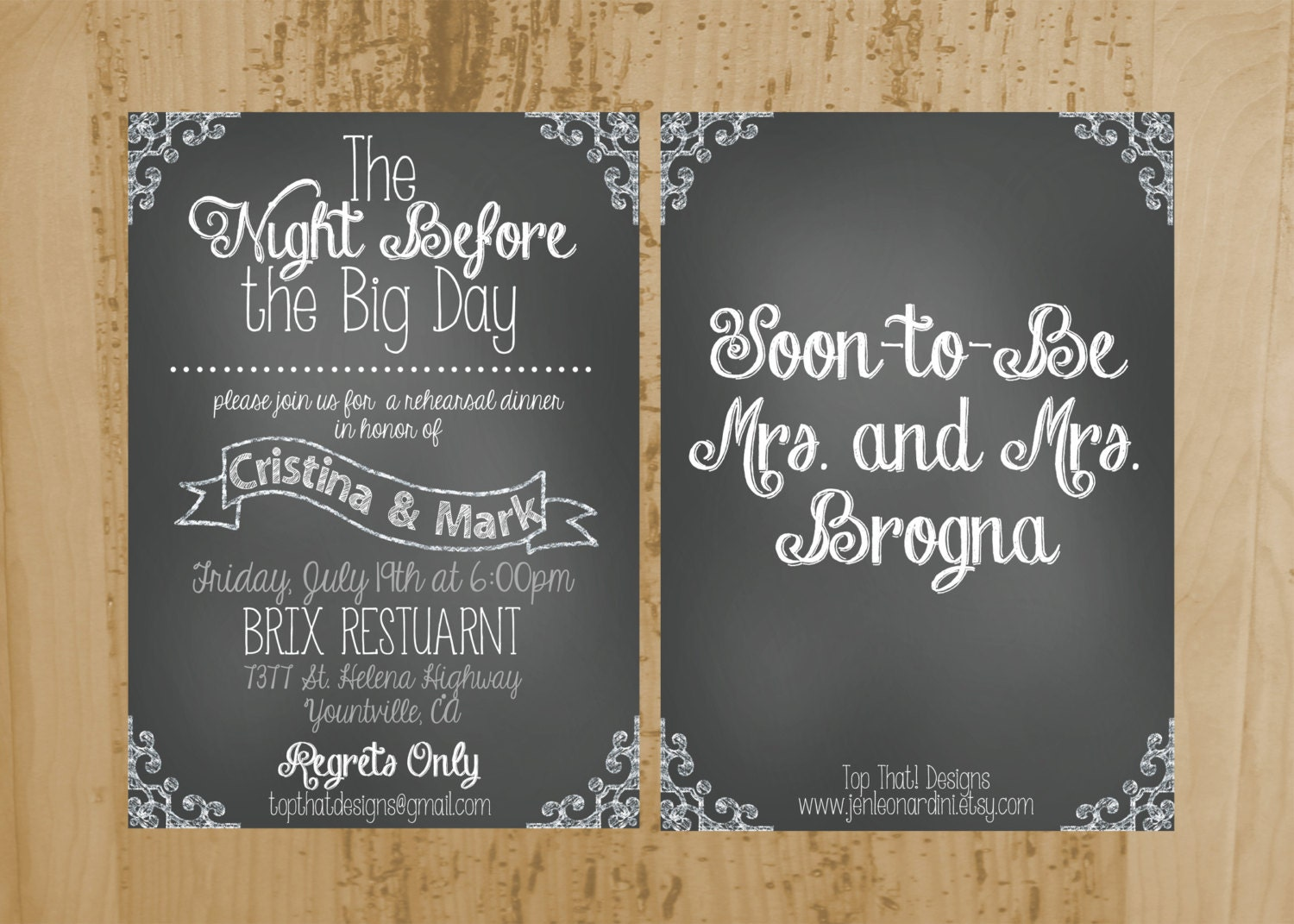 Wedding Welcome Dinner Invitation Wording: Chalkboard Style Rehearsal Dinner Invitation Printable