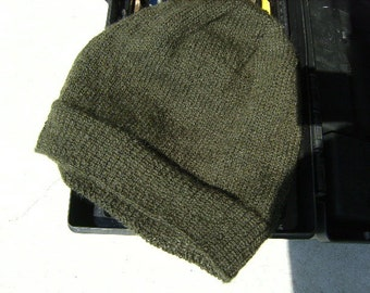 Men's Alpaca Wool Beanie Dark Green Olive Light Thin Hand Knit Winter Hiking Skiing Snowboarding Gent's Hat (One Size - Made to Order)