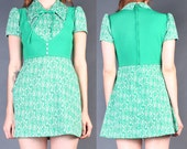 Vintage 60's Green Cat Print Empire Waist Mod Mini Dress XS S