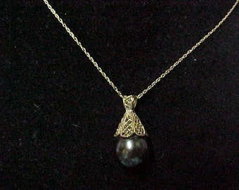 """Vintage Black Southseas Pearl Pendant, 14K, 10.5MM, with 14K Yellow Gold Fine Rope Chain 18"""" Chain"""