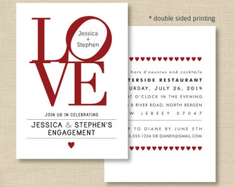 LOVE Invitations, Love Philly, Double sided invite for Engagement, Bridal shower, Wedding, Modern wedding, custom colors