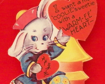 Vintage Valentines Day Card- Rabbit- Coolie Sweetie With Warm-ee Heart-Be My Valentine 1940's Die Cut