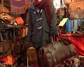 Leather Brown Duffle Tote Bag Gym Carry On Luggage