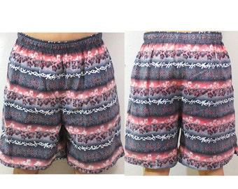 Vintage Retro Bright Pink Flowered Swim Trunk Shorts