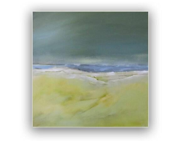 "Sale -painting Acrylic Original, Deep Seafoam Skies Abstract Seascape - 20"" x 20"" Free Shipping"