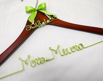 Personalized Hanger with Date Charm, Name Hanger, Wedding and Birthday Gift, Custom Hanger