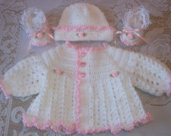 Crochet Baby Girl Pink and White Sweater Set Layette For Take Me Home or Shower Gift