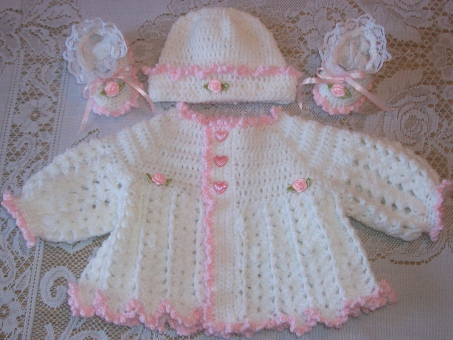 Crochet Baby Girl Cardigan Pattern Free : Crochet Baby Girl Pink and White Sweater by ...