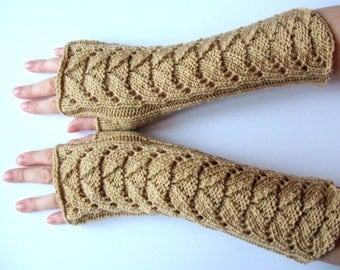 Long Fingerless Gloves Beige Arm Warmers  Mittens Soft Acrylic