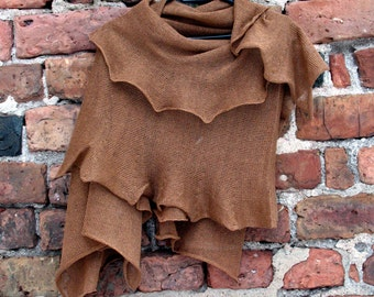 Brown Linen Scarf Shawl Wrap Stole, Light