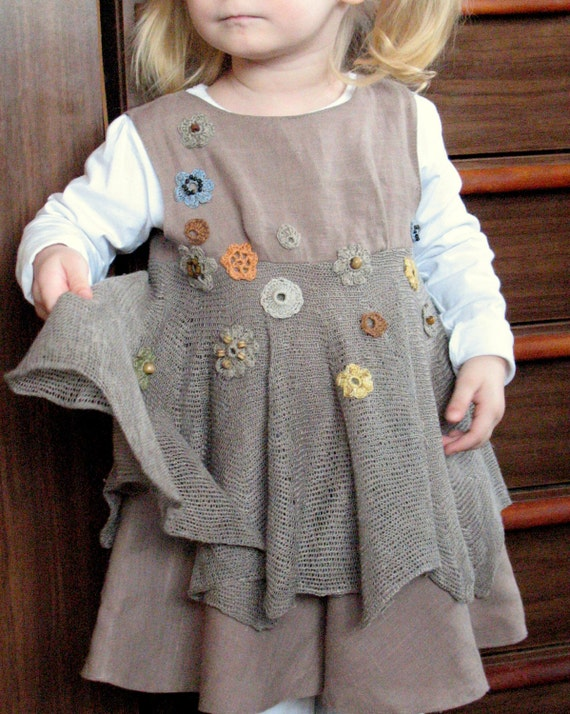Linen Baby Dress Natural Grey Jumper Dress - A line Dress - Nursery - Children Clothing - 12 months to 6T