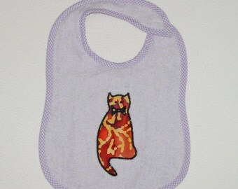 Cat Toddler Bib - Cat with bow Applique Lavender Terrycloth Toddler Bib