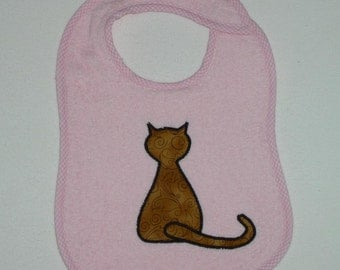 Cat Toddler Bib - Sitting Cat Applique Pink Terrycloth Toddler Bib