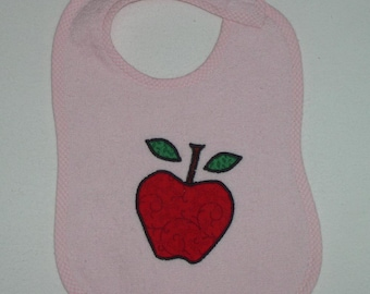 Apple Toddler Bib - Juicy Red Apple Applique Pink Terrycloth Toddler Bib