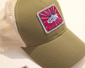 Sage Patriot Trucker Hat Raised Patch Patriot Trout BadAxeDesign