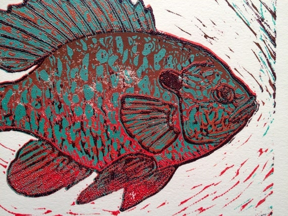 Sunfish Reduction 5 Color Linocut Print Fly By Badaxedesign