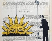 Sun Sunrise Spring Dictionary Art Sunny Day Drawing Illustration RISING SUN  giclee print poster mixed media painting
