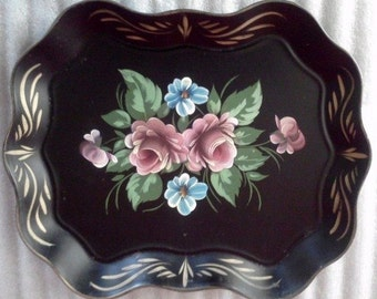 Vintage Serving Tray Large Hand Painted Tole from Nasco