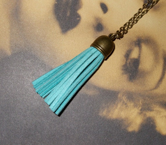 Tassel Necklace, Teal Suede, Boho Jewelry, Turquoise Blue, Long Tassel Pendant, Simple Necklace, Fringe Tassel, Blue Necklace, Tassel Charm