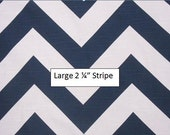 "Pair of TWO 25"" Wide Navy and White Zig Zag Chevron Curtains Drapery Panels Large Stripe"