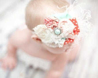 Couture rosette Headband in mint green and coral - Fabulous Photo Prop - Birthday - Baby Headband - Couture