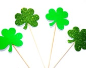 St. Patrick's Day Props - Set of 4 Green FOAM Shamrocks - Glitter and Non-Glitter - Photo Booth Props