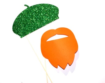 St. Patricks Day Photo Props - 2 piece prop set - GLITTER Green Beret and Orange Beard - St Pattys Day Props - Photo Booth Props