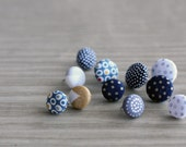 Nickel Free Fabric Covered Button Earrings - Polka Dot Theme