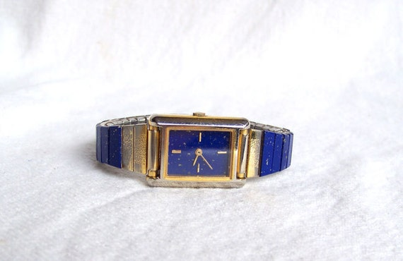 Vintage Watch Lapis Lazuli Color Stones On Face And Band