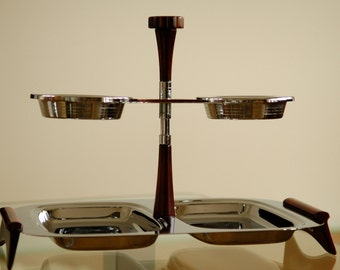 """Mid Century Glo Hill Chrome """"Gourmates""""  Rectangular Tray with  Dipping Bowls that Swivel"""