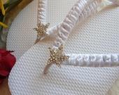 Beach wedding shoes, flat bridal flip flops, beach sandals, bridal slippers, wedding flip flops, bridesmaid gift, bridal shower gift