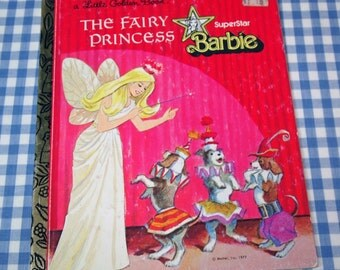 superstar barbie - the fairy princess, vintage 1977 children's little golden book