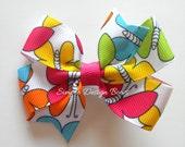"Butterfly Hair Bow - Butterfly Bow - 3"" or 4"" Medium Pinwheel Bow - Bright Rainbow Butterflies - Summer Bow"