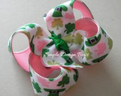 "St Patricks Day Hair Bow - Pink and Green - 3"" Twisted Boutique Bow - Shamrock Hair Bow"