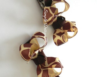 """Giraffe Hair Bows - Pigtail Set - 2"""" Twisted Boutique Bows"""
