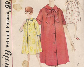 1950's 1960's Sewing Pattern Simplicity 4214 Misses nightgown and robes size 16 bust 36