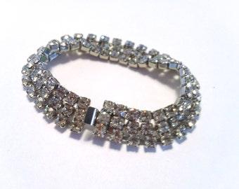 Art Deco Rhinestone Bracelet Brides Wedding Retro Mad Man Glamor Jewelry